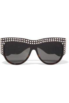 a6c9a793e054e6 Gucci Embellished D Frame Tortoiseshell Acetate Sunglasses Oval Faces,  Trending Sunglasses, Tortoise Shell,