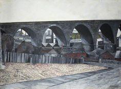 Brian Collinson - Old Railway Arches, Burnley 1970 Trains, Burnley, Colorful Artwork, Art Uk, Arches, Urban, Explore, Landscape, Boxers