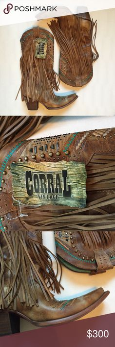 """Corral Vintage Fringe Western Boot Size 8M. Brand New never worn Corral vintage fringe western boot. Details: Vintage Honey Leather Foot & Shaft, 14"""" Shaft with Long Fringe, Pull Straps with Brass Studs, Embroidery with Stud Accents Along Foot & Collar, Pig Skin Lining, Snip Toe, Cushioned Insole Leather Outsole w/ Rubber Insert, 2 3/4"""" Macocel Cowboy Heel, Single Stitched Welt. So comfy and so cute. Does not come with box. No trades. Offers are welcome :) Corral Shoes Heeled Boots"""