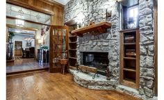 Stone fireplace with built-ins- beautiful
