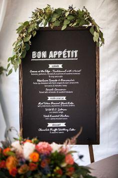 Dinner party menu on chalkboard