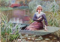 Amazing Pre-Raphaelite Lucien Davis RI 1860-1941 WaterColour Signed waterlilies