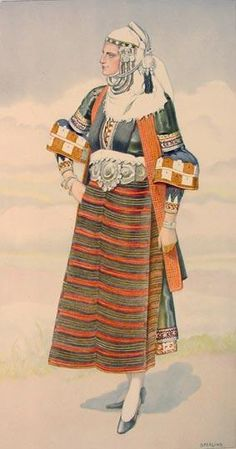 NICOLAS SPERLING Peasant Woman's Dress (Macedonia, Asvestochori) 1930 lithograph on paper after original watercolour Greek Traditional Dress, Traditional Outfits, Costume Shop, Folk Costume, Ancient Greek Costumes, Greek Dancing, Guache, Costume Collection, Ethnic Dress