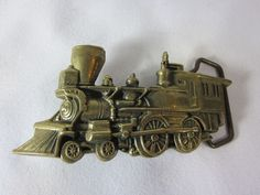 Steam Locomotive Train Railroad Baron Buckles Brass Vintage Belt Buckle #BARONBUCKLES #Vintage