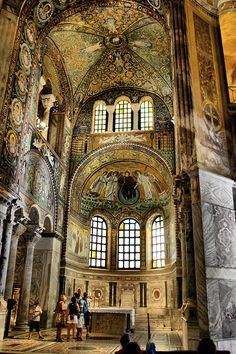 Basilica of San Vitale in Ravenna.The church was begun in 527, when Ravenna was under the rule of the Ostrogoths, and completed in 548 during the Byzantine Exarchate. The church is of extreme importance in Byzantine art, as it is the only major church from the period of the Emperor Justinian I to survive virtually intact to the present day. Furthermore, it is thought to reflect the design of the Imperial Palace Audience Chamber at Costantinople, of which nothing at all survives.