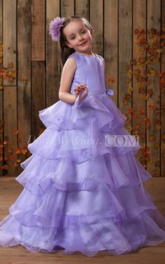 US$76.90-Charming High Neck A Line Flower Girl Dress With Tiers. Purple girls…
