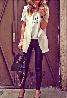 White blazer vest. Makes any outfit look stylish without trying very hard.