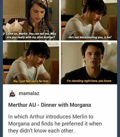 Merthur AU. I don't ship them but this is so cute.