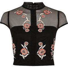 Black floral embroidered cap sleeve crop top $56.00
