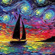 Sailboat Starry Night Art CANVAS print Come Sail Away ocean sunset boat artwork by Aja 88 1010 1212 1616 2020 2424 3030 choose size Starry Night Art, Art Night, Sailboat Art, Van Gogh Art, Van Gogh Paintings, Oil Painting Abstract, City Painting, Knife Painting, Painting Canvas