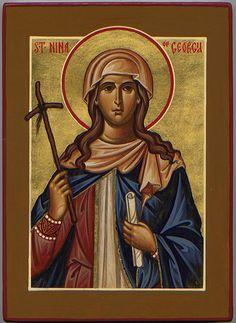 St. Nina of Georgia | with grapevine cross, georgian countryside at hem?