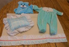 RETIRED BITTY BABY BLANKET & PILLOW  FOOTED SLEEPER & BEAR TOWEL