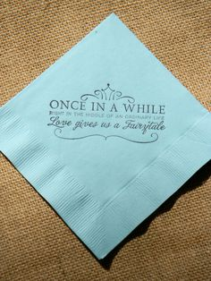 Fairytale Love Light Blue Paper Wedding Cocktail Napkins Once in a While Crown Stamped - Set of 50