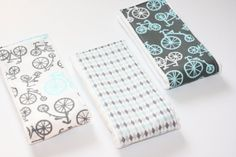 FREE SHIPPING Baby Burp Cloths - Set of 3 - Michael Miller It's a Boy Thing Bicycles in Charcoal and Blue on Etsy, $26.00