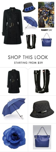 """Rainy Day Chic (contest entry)"" by scolab ❤ liked on Polyvore featuring Auguste, Burberry, Hunter, Gizelle Renee, Karen Kane and Chanel"