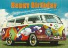 kaart happy birthday vw busje