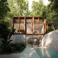 Facade Architecture, Contemporary Architecture, Diy Garden Fountains, Architectural Floor Plans, Home Interior Design, Interior And Exterior, Types Of Houses, Dream Decor, A Boutique