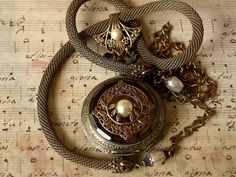 Victorian Steampunk Pocket Watch Necklace Pendant on Snake Chain with Swaroski Pearls  Vintage Style Victorian Locket Jewelry