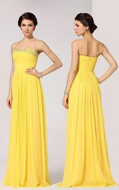 BCBGMAXAZRIA Strapless Sequin Yellow Long Prom Gown