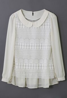Peter Pan Collar Lace Layered Chiffon Shirt - just take the waist in