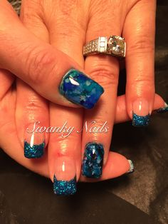 Granite nail art with blues #swankynails