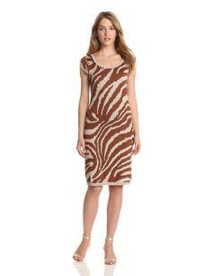 Anne Klein Animal Intarsia Scoop Neck Dress