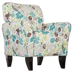 Madill Accent Chair - Floral - Aiden Lane, Off White