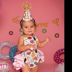 First Birthday Outfit Donut Turn One Donut Grow Up Pink Aqua Gold Cake Smash Outfit Romper and Birthday Hat for Baby Girl 1st Birthday Party For Girls, Donut Birthday Parties, Donut Party, Birthday Cake Smash, First Birthday Outfits, First Birthday Cakes, Sister Birthday, Baby Party, Baby Birthday