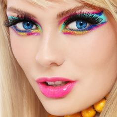 Bold, bright makeup look with neon colors
