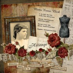 Mattie Evans Clark...great genealogical journaling, embellishments and use of ephemera.