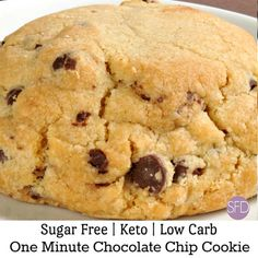 Enjoy a quick and easy low carb keto dessert or snack with this delicious recipe for One Minute Sugar Free Chocolate Chip Cookie! Sugar Free Carrot Cake, Sugar Free Pancakes, Sugar Free Brownies, Sugar Free Jello, Sugar Free Peanut Butter, Sugar Free Cookies, Sugar Free Chocolate Chips, Sugar Free Desserts, Sugar Free Recipes