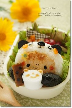 "Kawaii Panda Girl with ""panda art latte"" onigiri bento box Japanese Bento Box, Japanese Food Art, Kawaii Bento, Cute Bento, Food Art Bento, Art Kawaii, Bento Recipes, Bento Box Lunch, Food Humor"