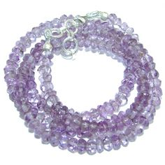 Simple genuine Amethyst Beads Strand Necklace .925 Sterling Silver 18 inches necklace