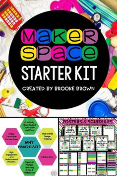 EVERYTHING you need to get an elementary Makerspace up and running in your classroom or school! Scheduling posters, supply lists and labels, posters, editable components, parent letters, task cards, app posters, and SO much more!