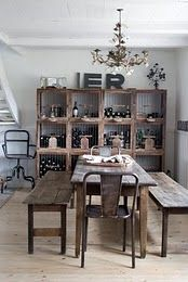 relaxed dining, no airs and graces, a scrubbed wood table and benches, perfect and real....LOVE THIS