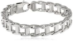 """Sterling Silver Italian Rhodium Plated 12.5mm Railroad Bracelet, 9"""". Made in Italy."""