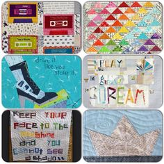 My mosaic for the #textmeminiquiltswap #textmeteamdyac I would be happy with texty prints anywhere in the quilt, or words, or with anything your imagination comes up with!  So excited!