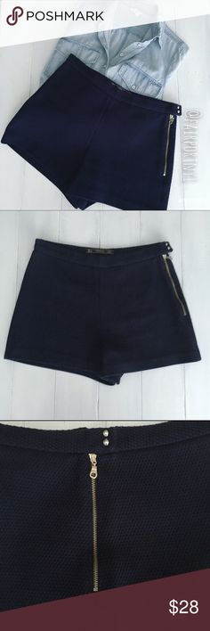 """Zara Trafaluc Shorts Zara Trafaluc high waisted 3""""shorts in a beautifully patterned fabric. They are navy blue. The zipper and 2 small snaps are on the left side in an exposed silver hardware. I purchased them at the Zara Store in Cannes, France. They have been dry cleaned twice. Zara Shorts"""
