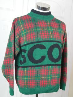 Scottish Vintage Classic Scotch Plaid Sweater, Wool Blend Plaid Sweater, SCOT Tartan Sweater, Red Green Pullover: Size XL (42-44) by YouLookAmazing on Etsy