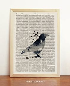 Raven Watercolor Bird Crow Illustration Mixed Media Black White Print Allan Poe Gothic Animal Art Upcycled Dictionary Book A4 8.3 x 11.7 in