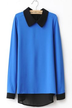 Color Block Poloneck Long Sleeve Chiffon T-shirt