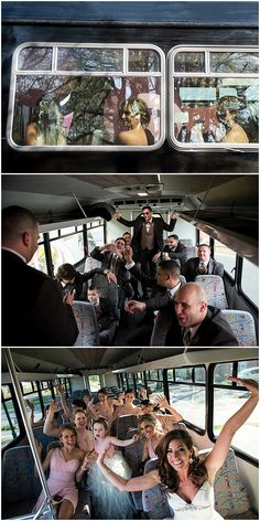 Fun bus ride with the wedding party!  Elegant Georgia Wedding at The Atrium • Bummed Bride