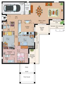 Denah Rumah 219339444335187944 - exemple plan maison plain pied Source by juanacollet House Plans One Story, Ranch House Plans, Best House Plans, Dream House Plans, House Floor Plans, New Modern House, Modern House Plans, Small House Plans, The Plan
