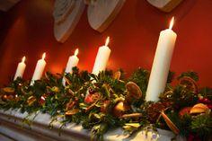 the tudors christmas | Christmas decorations on a Tudor fireplace at the Ellenborough
