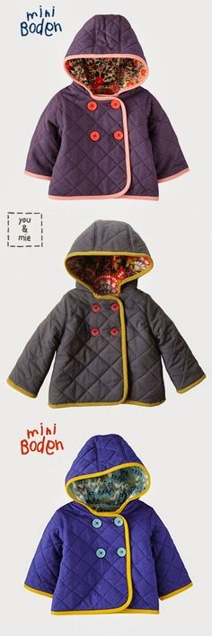 Sewing Instruction for Quilted Jackets What a fabulous quilted jacket. Cute & growing kids and...