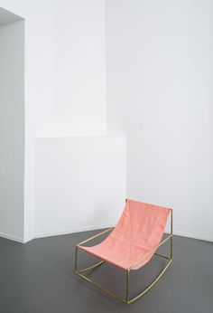 muller van severen / Modern rocking chair in minimal architecture. Simple design with a hint of pink color. #design #chair #pink