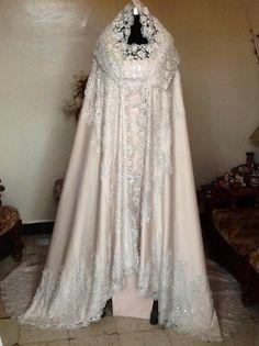 Cool Arabic Wedding Dresses Bridal Burnous... Check more at http://24shop.ga/fashion/arabic-wedding-dresses-bridal-burnous/
