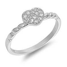 925 Sterling Silver Ring CZ Heart Midi Knuckle Thumb Ladies Size 9 New r67