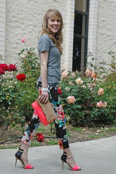 floral pants + basic tee @Gloria Irene Salazar girl you better work those pants I gave you!