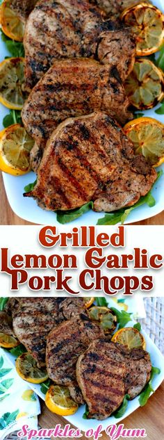 These Grilled Lemon Garlic Pork Chops were so fantastic! They were the superstar of our cookout! The lemon garlic marinade makes for the most juicy and tender chops around. #dinnerideas #grilling #pork #chops via @sparklesofyum